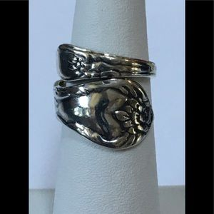 Sterling Silver Floral Spoon Ring